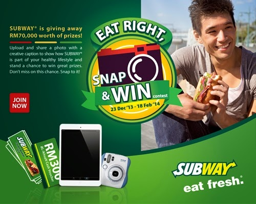 SUBWAY EAT RIGHT SNAP WIN CONTEST 2014