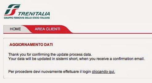 Thank you for confirming the update process data. / Your data will be updated in sisterni short, when you receive a confirmation email.