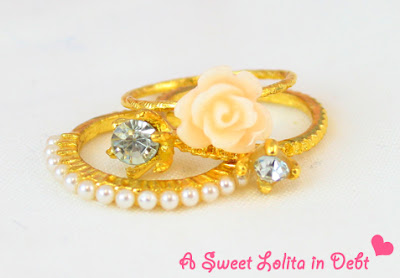 Gold Stackable Rings, Rose RIng, Gold Pearl Ring