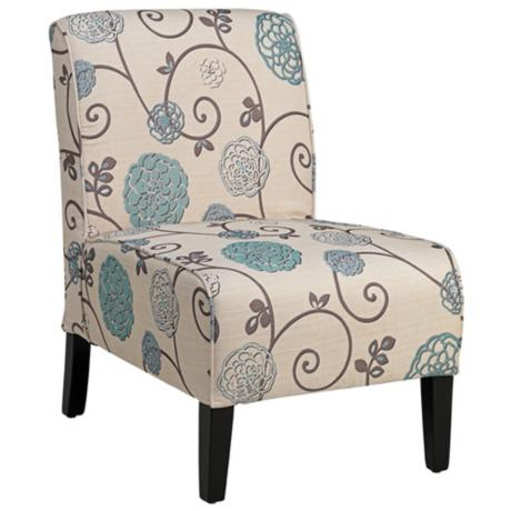 Olson Blue and Taupe Floral Armless Accent Chair - Olson Blue And Taupe Floral Armless Accent Chair Everything