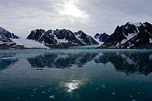 Magdalenafjord in the high arctic archipelago Svalbard of Norway