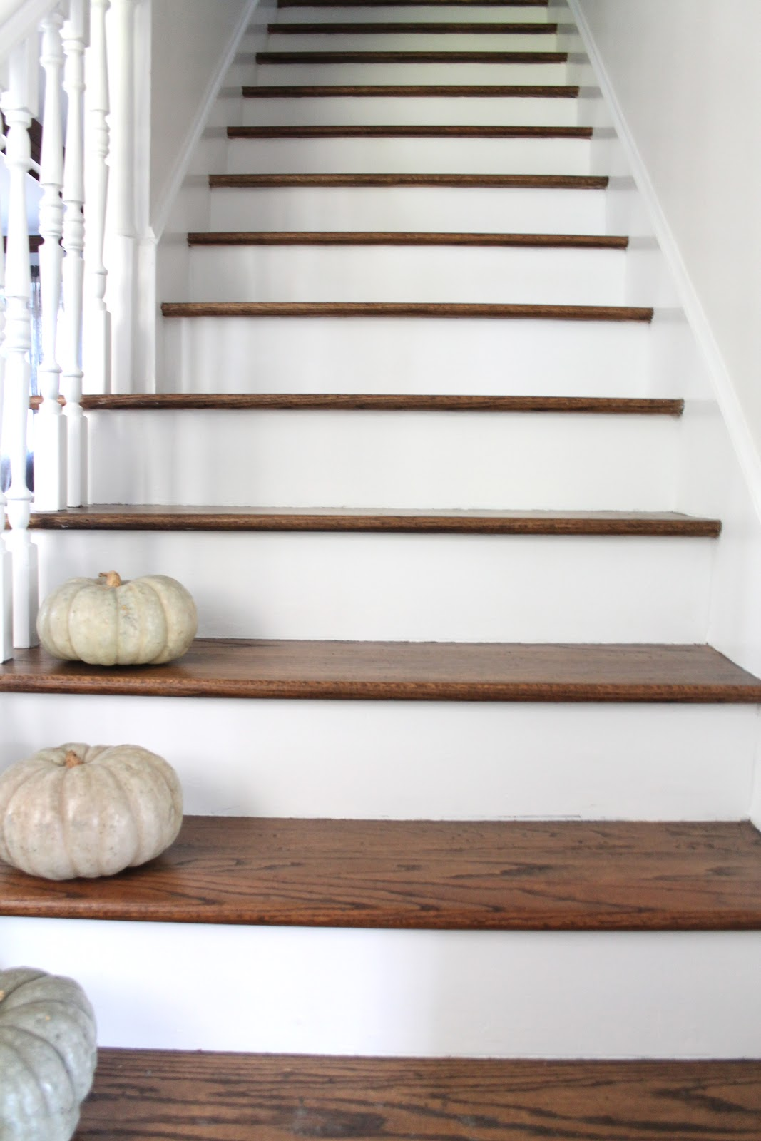 Stair makeover treads and risers exposed for Escalier interieur maison