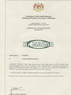 CERTIFICATE OF REGISTRATION - HJ MANAN