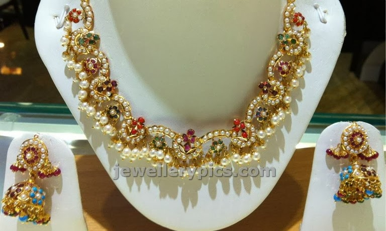 ambika jewellers navaratna necklace made with pearls