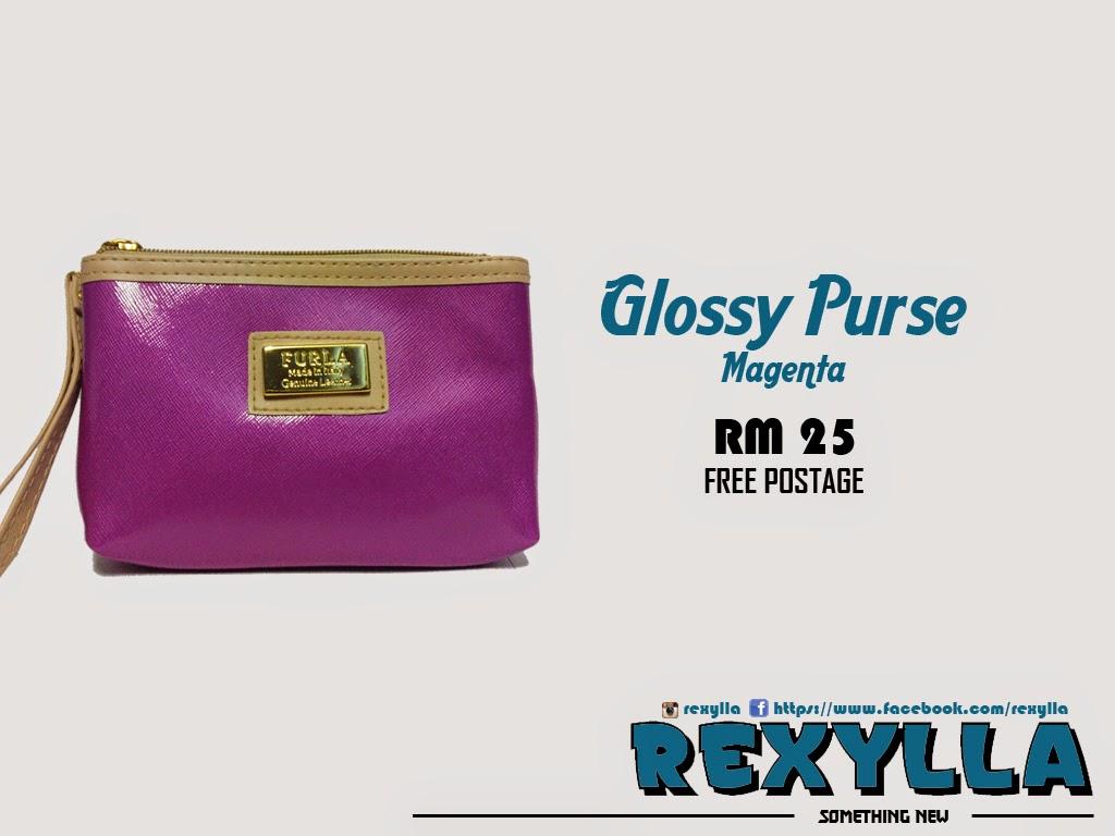 rexylla, glossy purse, magenta
