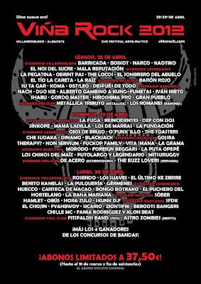 cartel viñarock, viñarock 2012, rock estatal, festival rock, festival rap