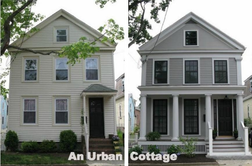 an urban cottage greek revival exterior renovation. Black Bedroom Furniture Sets. Home Design Ideas