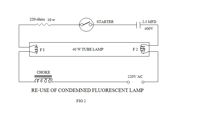 Electronic projects re use of condemned fluorescent lamps on wiring diagram of tube light with choke and glow starter double tube light circuit diagram tube light circuit diagram pdf