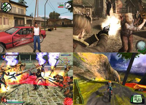 GTA SanAndreas, Resident Evil 4, Dynasty Warriors, Downhill