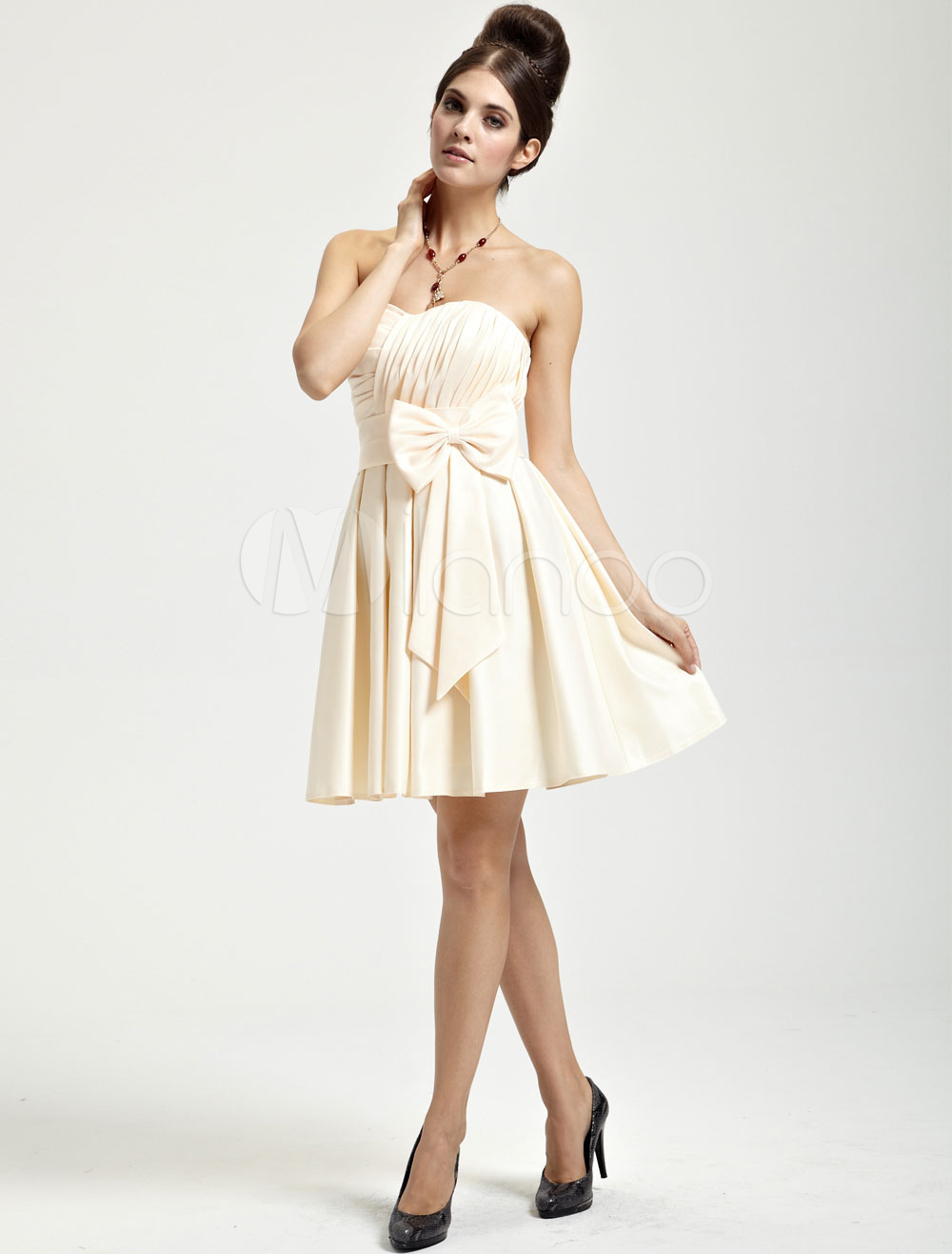China Wholesale Dresses - Champagne Satin Bow Sweetheart Short Cocktail Dress