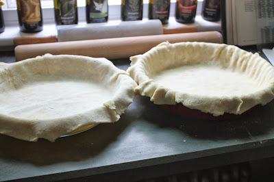 Pie dough in pie plates