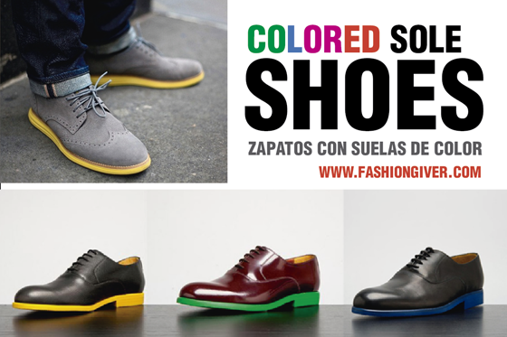 Colored sole shoes. Zapatos con suelas de color.