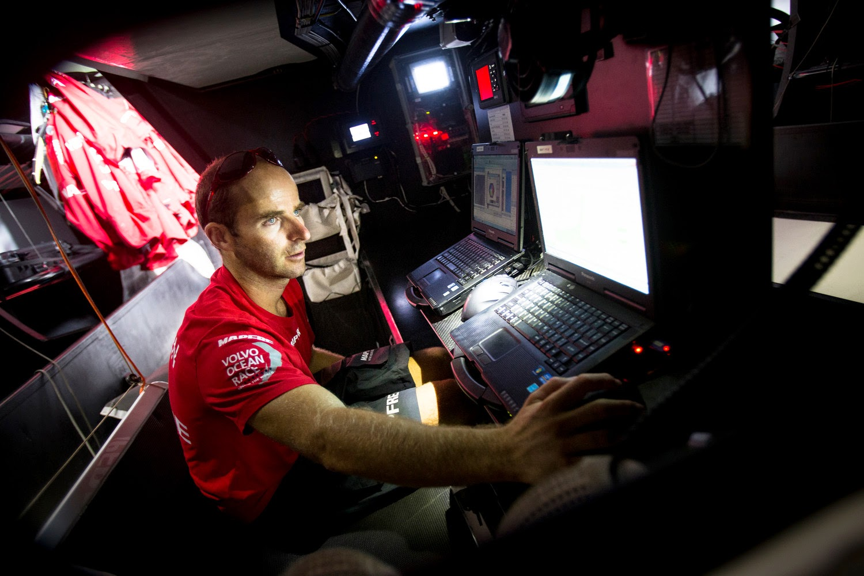 Nicolas Lunven ici à bord de Mapfre.
