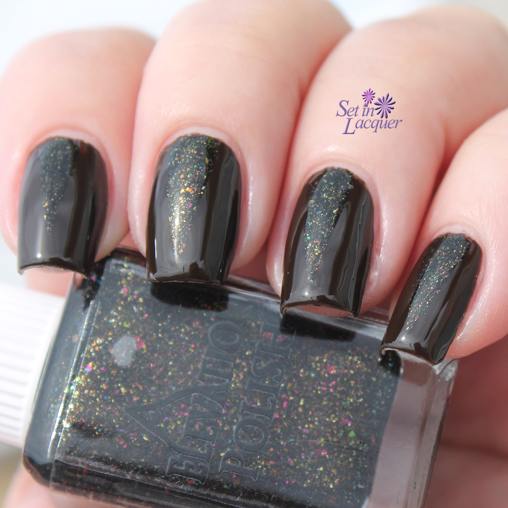 Simple nail art using Elevation Polish Thunder Basin and Fireflies in a Dark Meadow