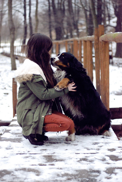 kiss, dog, green, coat, red, pants