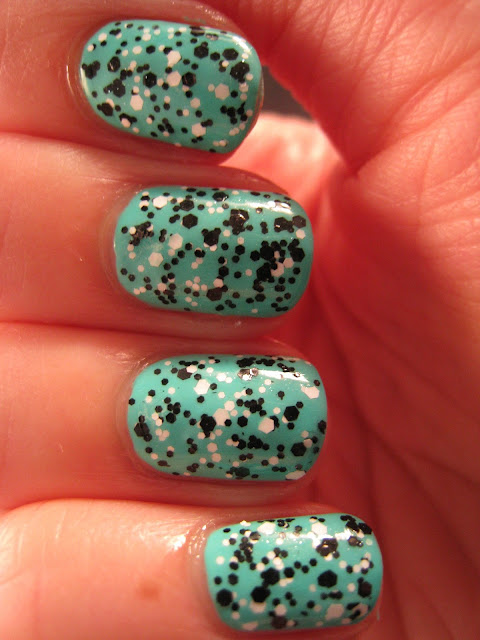 Loreal-Confetti-black-white-Barry-M-Greenberry-Gelly-Green-nail-polish