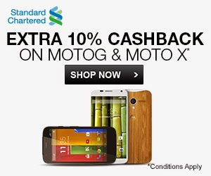 Flipkart : Extra 10% cashback on MOTO G and MOTO X mobiles for standard Chartered users