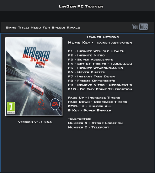 Need for Speed Rivals v1.1 32 & 64 Bit Trainer +13 [LinGon]