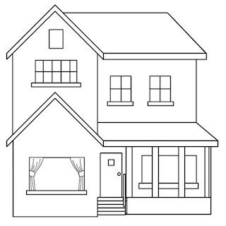 Casa de ciudad para pintar y colorear dibujos para - Fotos de casas para dibujar ...