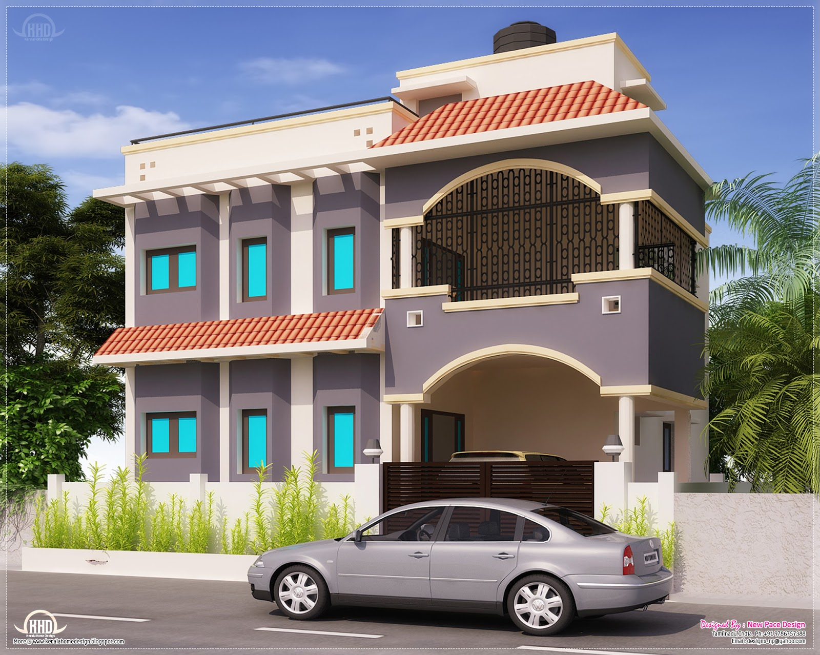 1675 Sqfeet Tamilnadu House Exterior Design Plans
