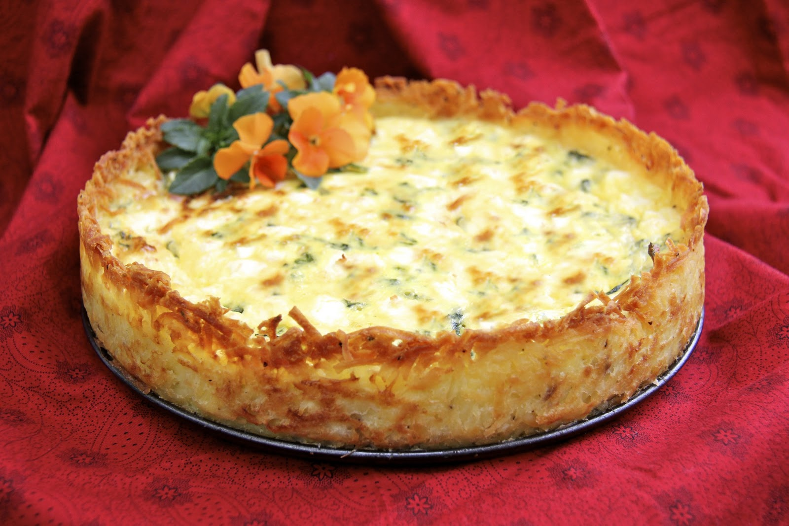 Goat Cheese, Fontina & Arugula Quiche w/ Crispy Hash Brown ...