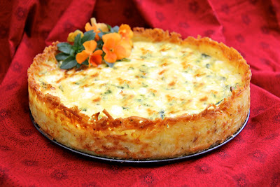 Goat Cheese, Fontina & Arugula Quiche w/ Crispy Hash Brown Crust ...