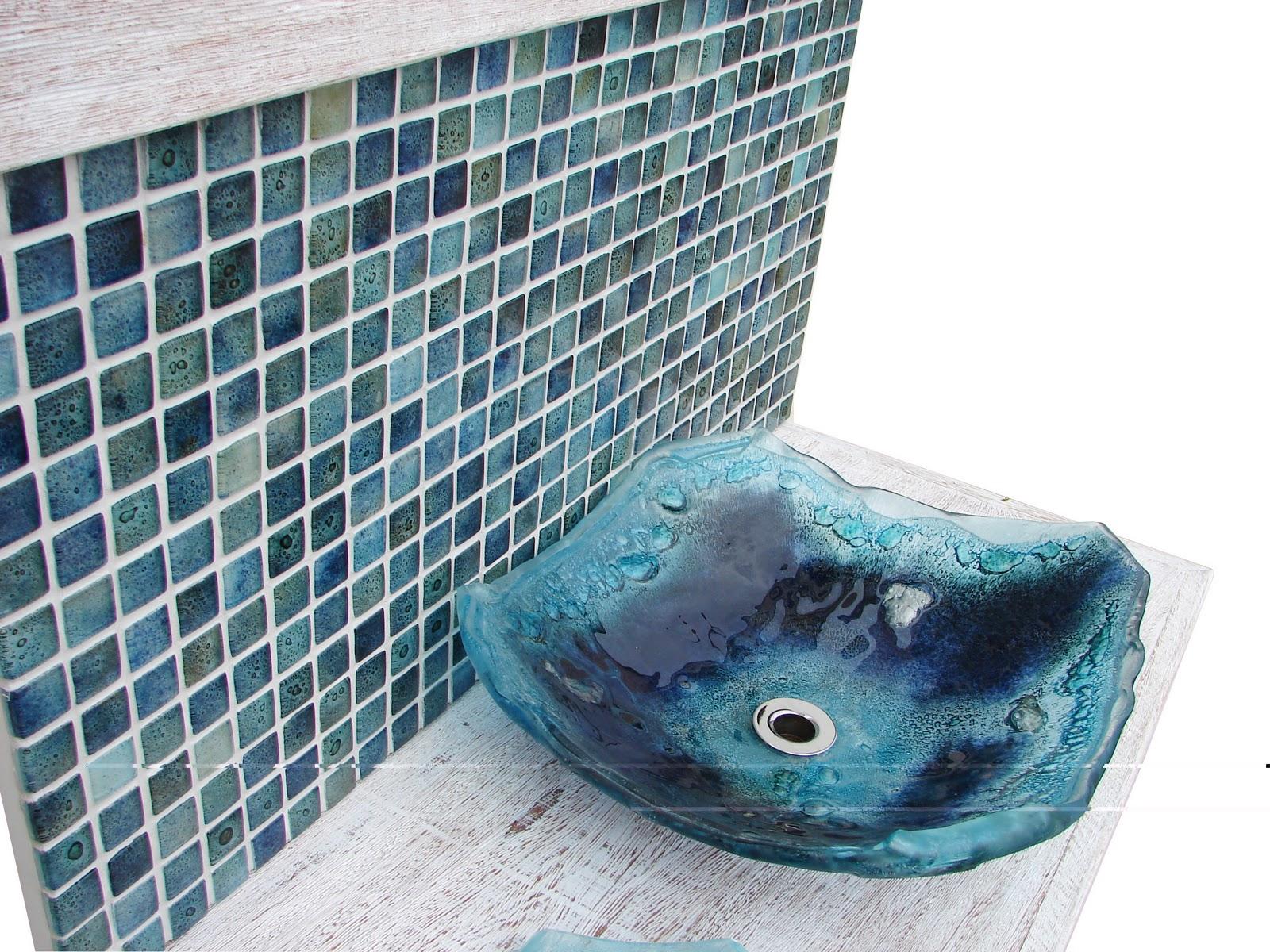 Ou a Glass Mosaic Miscelânia 1 5x 1 5 ( essa foto na meia estranha ao  #3E7C8D 1600x1200 Banheiro Com Cuba Azul