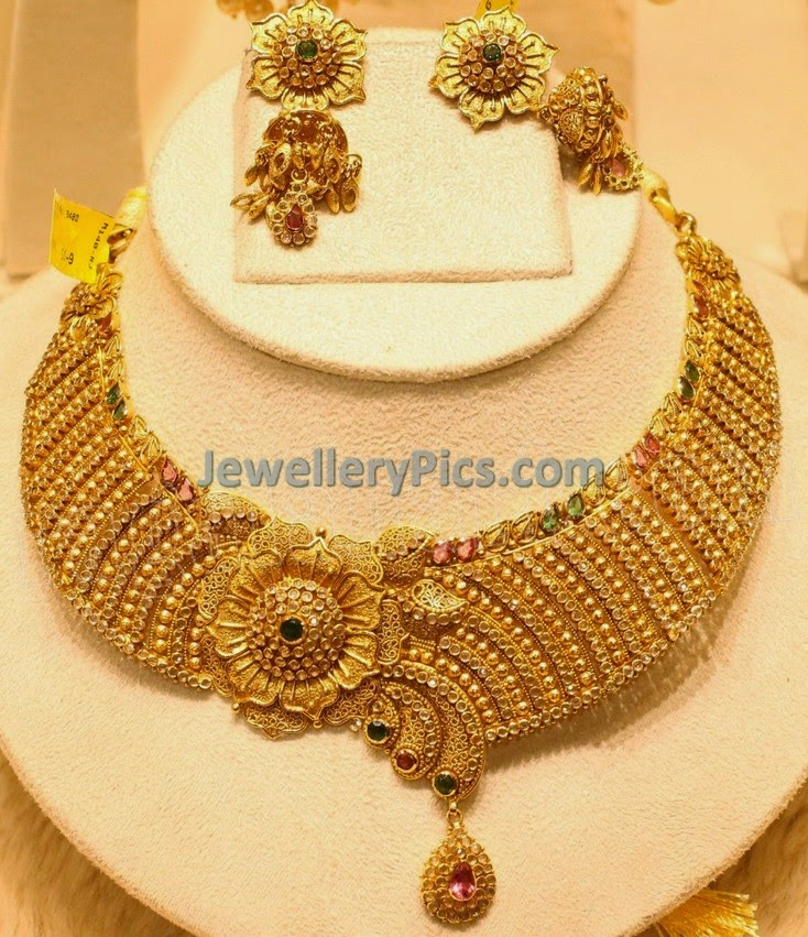 heavy bridal diamond necklace with gold beads
