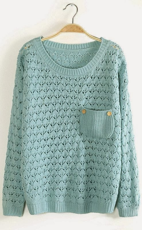 Simple cute sweater with pocket fashion trend