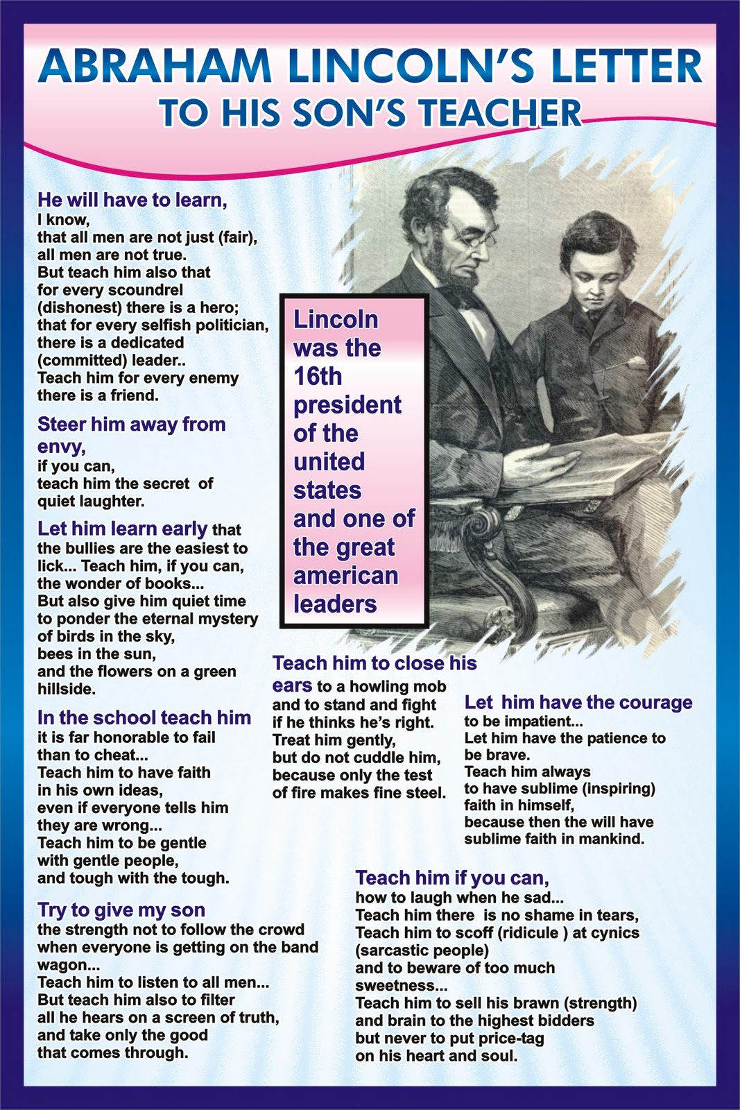 abraham lincoln s letter to his son s teacher Are you a teacher or a student  abraham lincoln's last letter to his wife, 1865   general ulysses s grant invited president lincoln, his wife mary, and son.