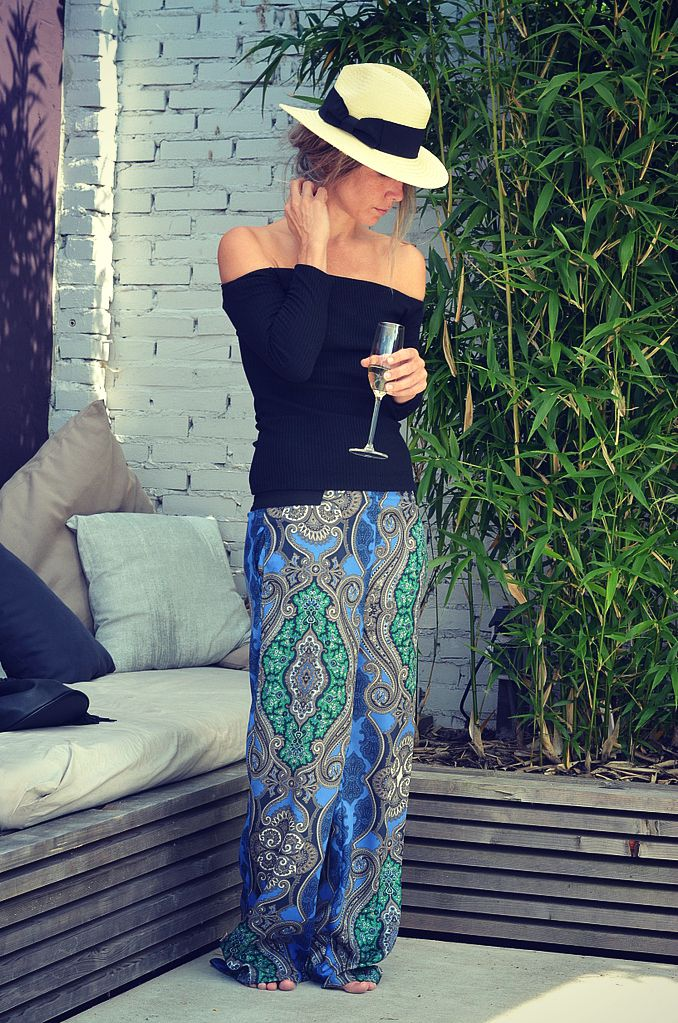 palazzo pants bohemian chic dutch blogger hat garden lounge garden ibiza style