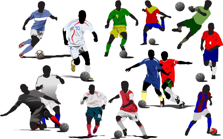 プレーするサッカー選手のシルエット soccer shooting sports silhouette イラスト素材