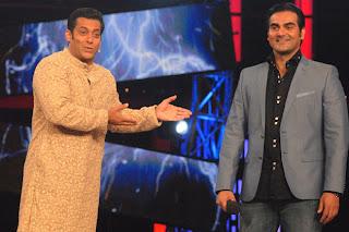 Salman and Arbaaz at unveil of Dabangg 2 Trailer on the sets of Bigg Boss