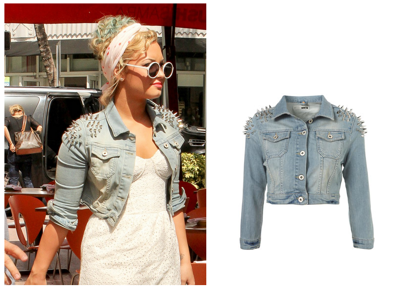 Demi Lovato: Moto Shoulder Spike Denim Jacket | Dressing Like ...