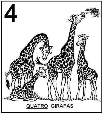Atividades com Numerais - Girafas para colorir