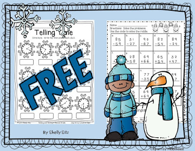 Smiling and Shining in Second Grade: Winter Math Printables