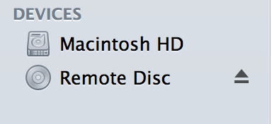 Remote Disc icon now shows up in the Finder Sidebar under Devices