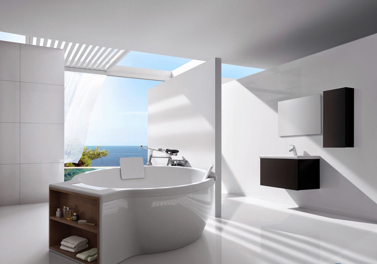 bañera de Roca integrada en una infografia de un baño