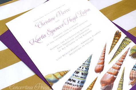 Florida Beach Wedding Seashell invitations in purple by Concertina Press