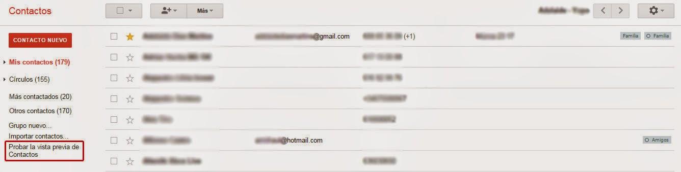 Desde Gmail podemos acceder a esta versión de Contactos.