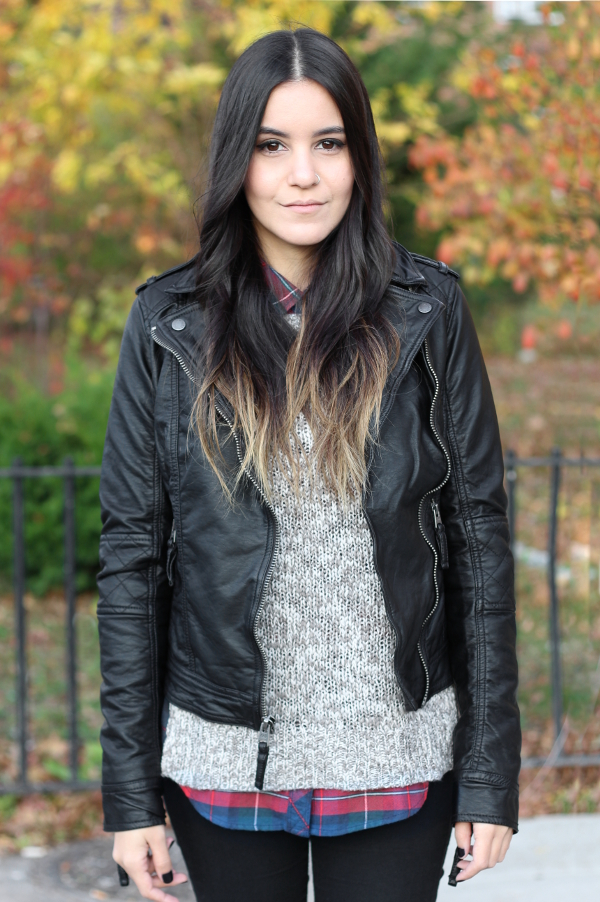 Jessica Lemos jess jesslemos abercrombie & fitch #afstlist leather tatum jacket flannel sweater ombre wavy hair