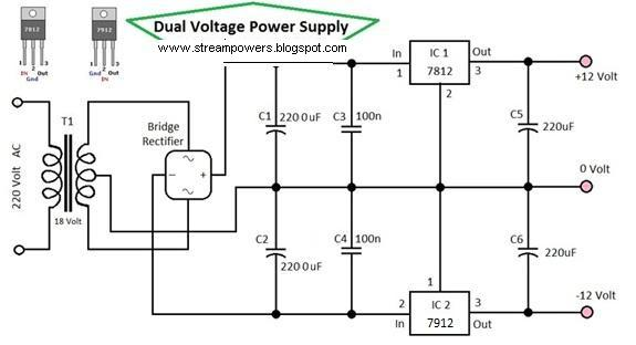 Simple Dual Voltage Power Supply 12 Volt Electronic Circuits Diagram