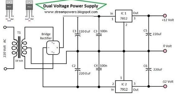dual voltage power supply 12 volt circuit diagram