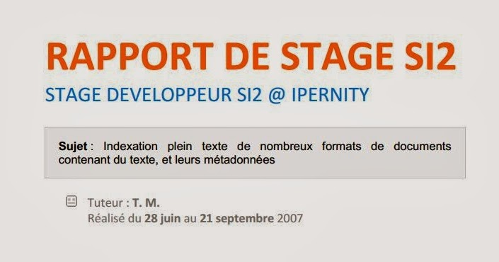 rapport de stage  indexation plein texte de nombreux formats de documents contenant du texte