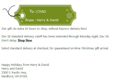 Click to view this Dec. 19, 2011 Harry & David email full-sized