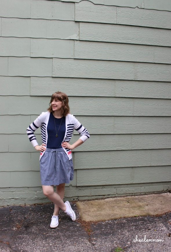 chambray skirt with white sneakers and striped cardigan | www.shealennon.com