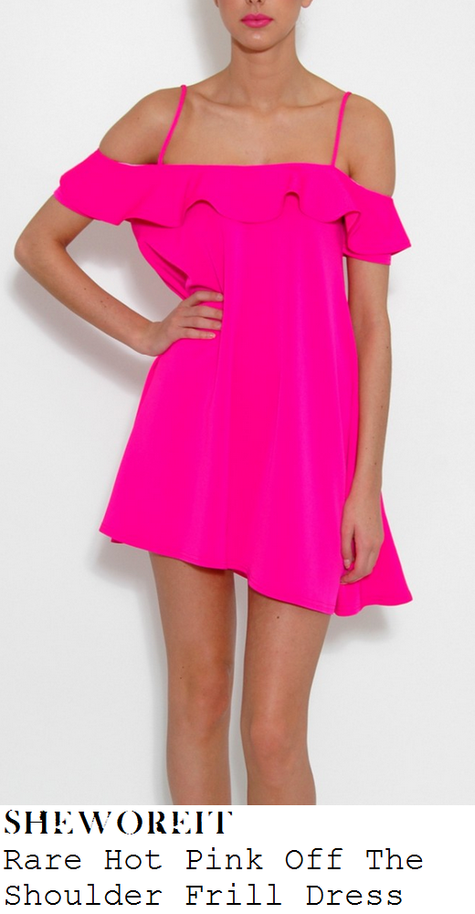 chloe-simms-bright-hot-pink-off-the-shouder-frill-oversized-mini-dress-marbella