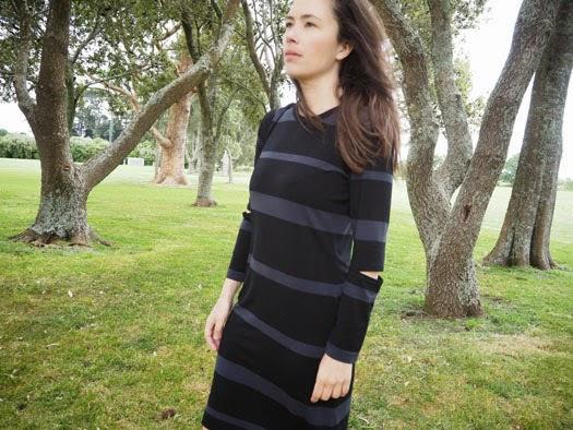Ms Wabi Sabi Simplicity 2054 Striped Knit Dress