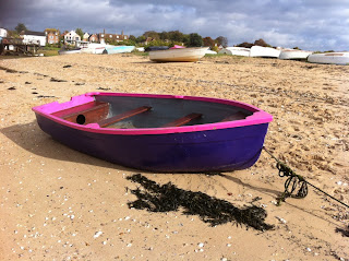 Painted boat on Mersea, Essex