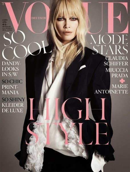 Claudia Schiffer - модель которая украсила обложку апрельского номера для Vogue Deutsch 2014 в экстравагантной черно белой фото сессии.